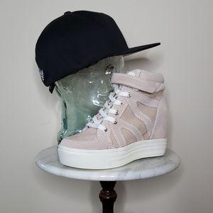 ALDO PATMORE-56 Taupe & White Wedge Sneakers 8